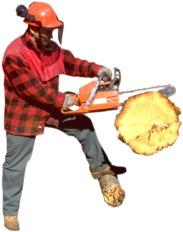 man-cutting-log-with-chains