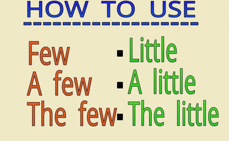 Lesson Nine:  A few / A little