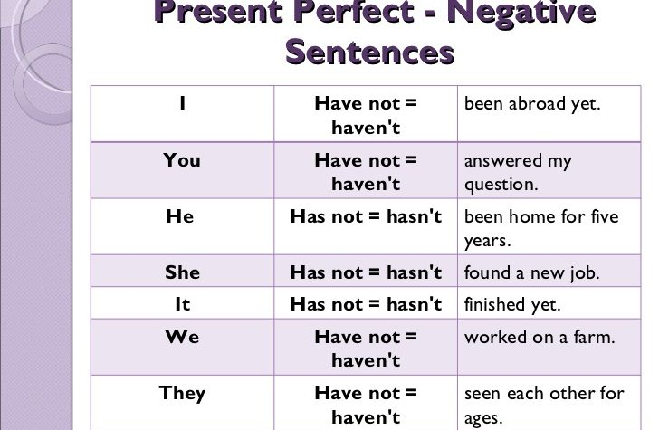 Lesson Four:  The Present Perfect Tense — Negative